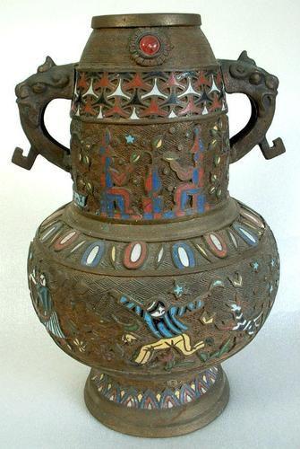 Champleve Vase Made Japanese Bronze Enamel Cloisonne Champleve