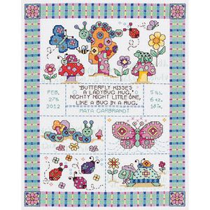 """Janlynn Bug In A Rug Birth Record Counted Cross Stitch Kit, 9-3/4"""" x 12-3/4"""", 14 Count"""