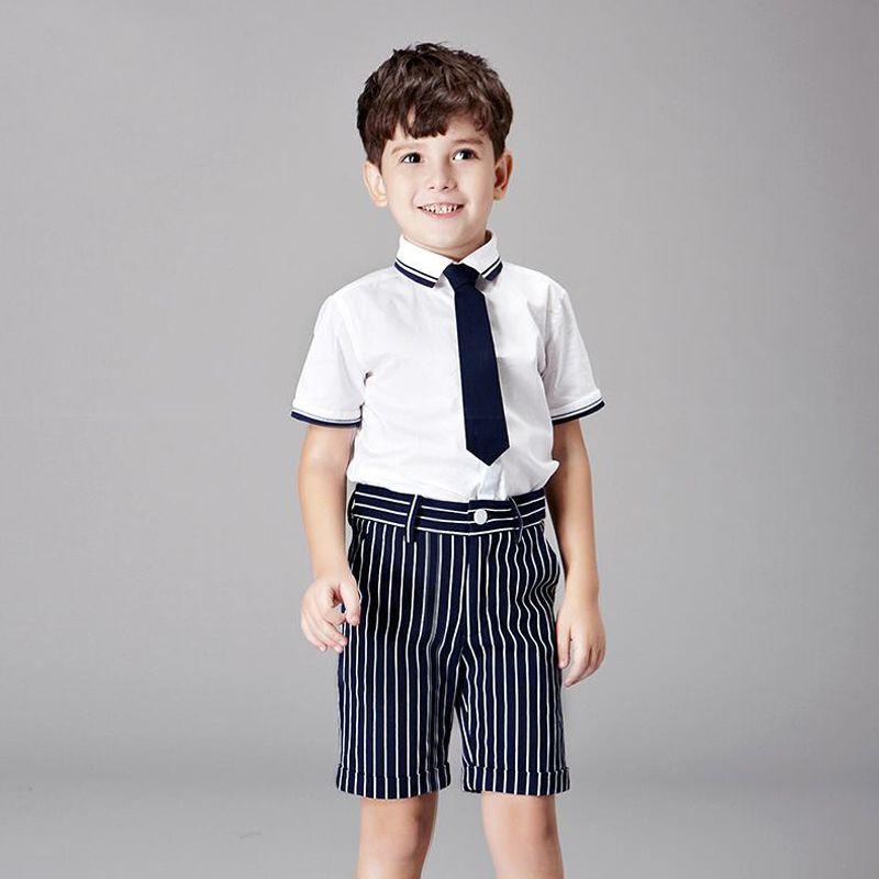 1f52cb405 Trajes de los niños para Las Bodas Wite Camiseta de La Raya Azul de Fiesta  Para