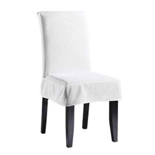 White Chair Covers Amazon Armless 18 Sure Fit 107925236t Wht Twill Supreme Short Dining Room Cover Home Kitchen