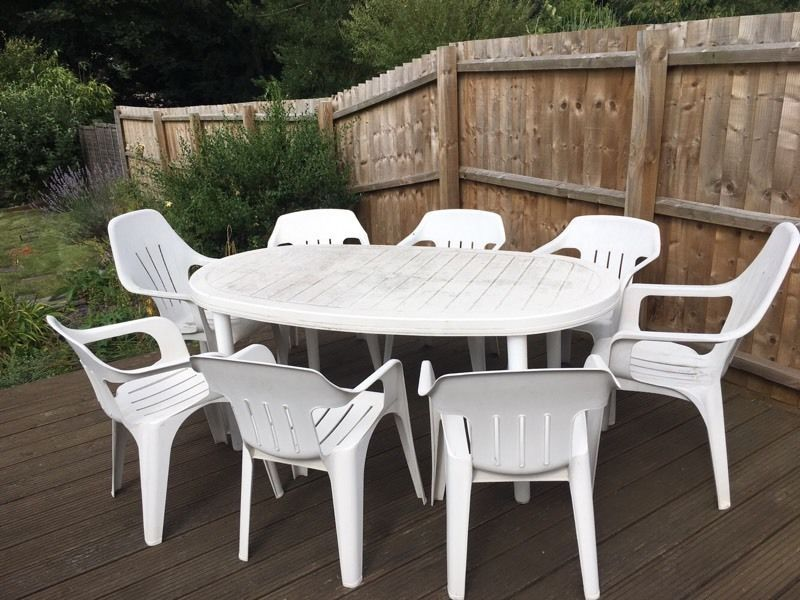 Have A Plastic Garden Table At Your Lawn 8 Seat White Plastic Garden Table Chair Set In White Patio Furniture Outdoor Tables And Chairs Best Outdoor Furniture