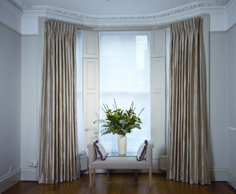 Depiction of how to choose the right window treatments for for Ideas for bay window treatments