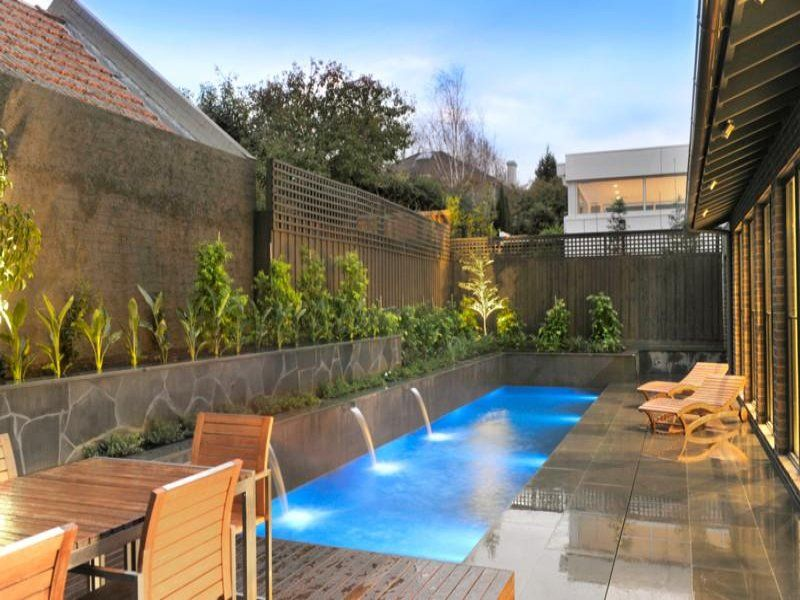 Pool ideas and landscaping designs with pools in 2019 for Pool design lighting