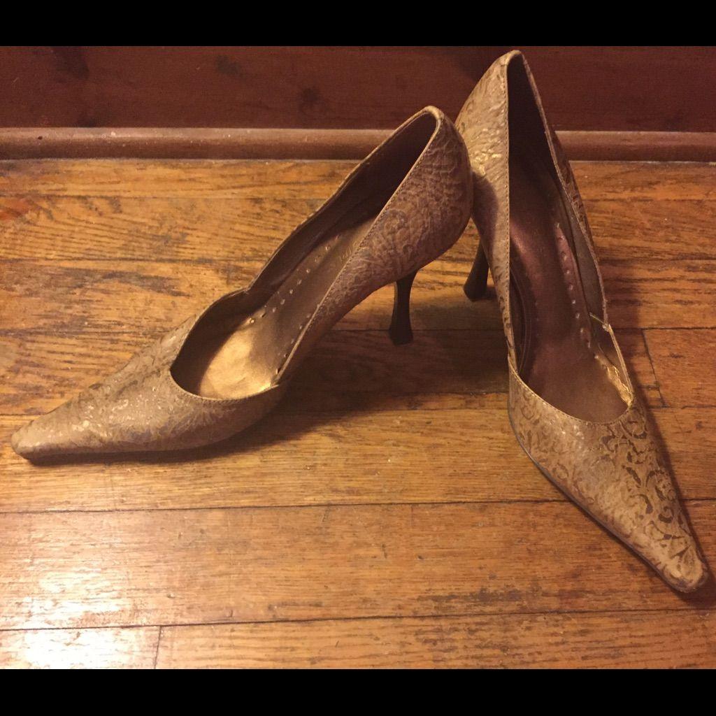 Bcbg Tan And Gold Heels
