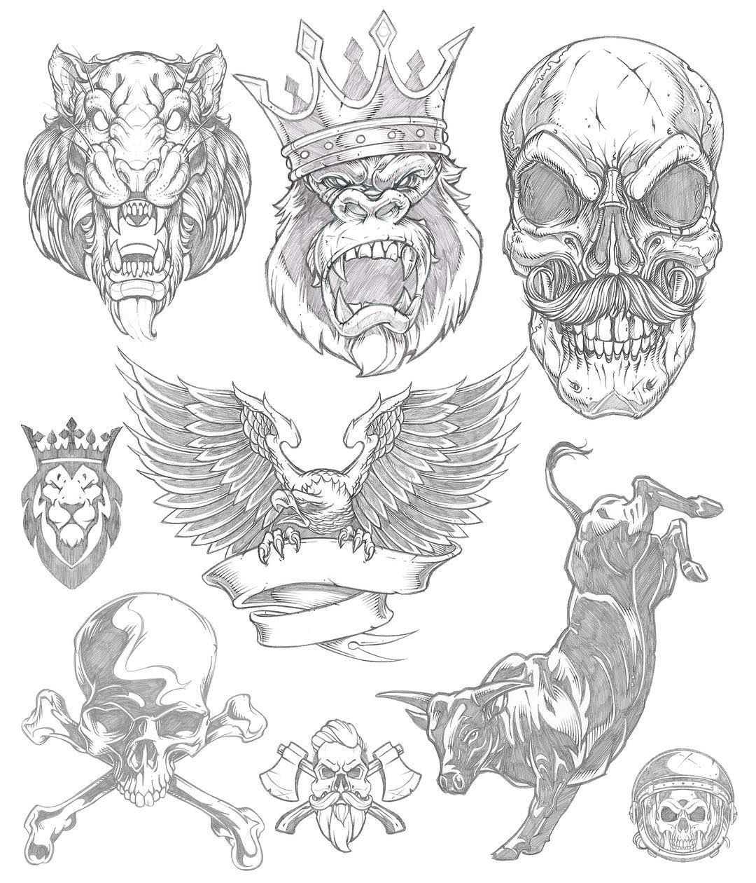 Part1: I rarely look back. My insatiable appetite for discovery and the ongoing battle within for growth is grueling. It forces this aggressive forward momentum that leaves little room for reflection or appreciation. Doing a little organizing this morning of illustrative work. #pencil #sketch #tiger #monkey #gorilla #skull #eagle #bull #rodeo #NFR #alwaysoutnumbered #illustration #drawing #studiolife #art #sweyda