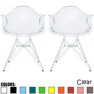 2xhome Set Of 2 Clear Modern Designer Acrylic Plastic Chair With Arms  Armchairs Dining Chairs Silver