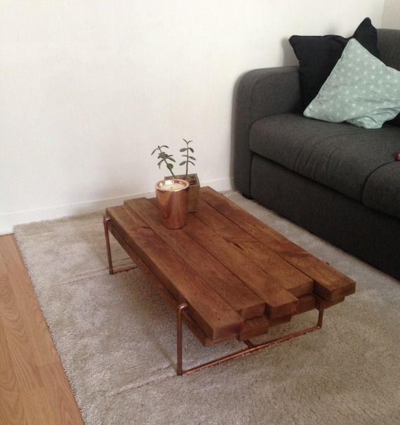 table basse bois fonce cuivre design