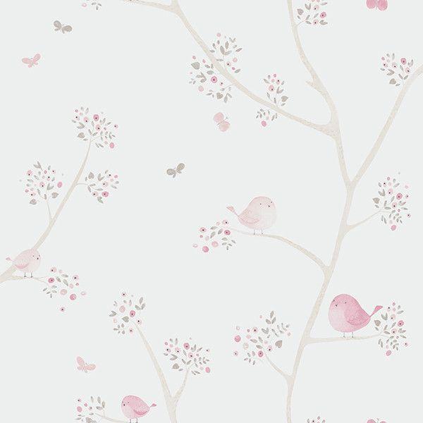 Papel pintado infantil pajaritos en la rama rosa papel tapiz papel pintado papel pintado - Papel pintado habitacion bebe ...