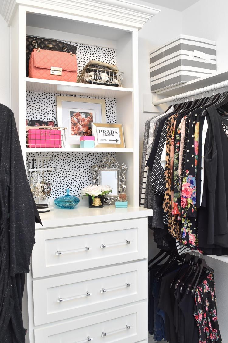 Large Master Closet Ideas $100 Master Bedroom Closet Makeover | A large master closet gets a luxury  makeover using wallpaper and DIY decor ideas. #masterbedroom #closet  #closetgoals ...