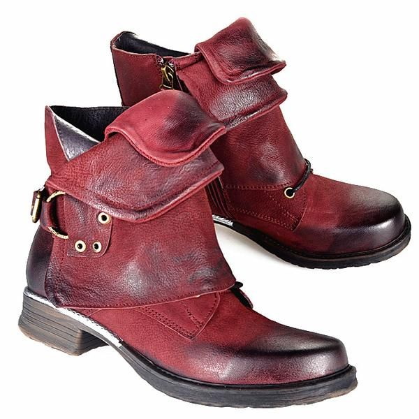 82daccd275796 Women's Shoes - Women Vintage Buckle Rivets Ankle Motorcycle Boots – styleNB