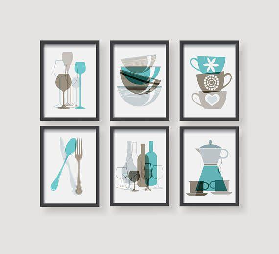 Turquoise Brown Kitchen Prints Kitchen Decor Kitchen Wall Art Etsy Turquoise Kitchen Etsy Wall Art Kitchen Wall Art