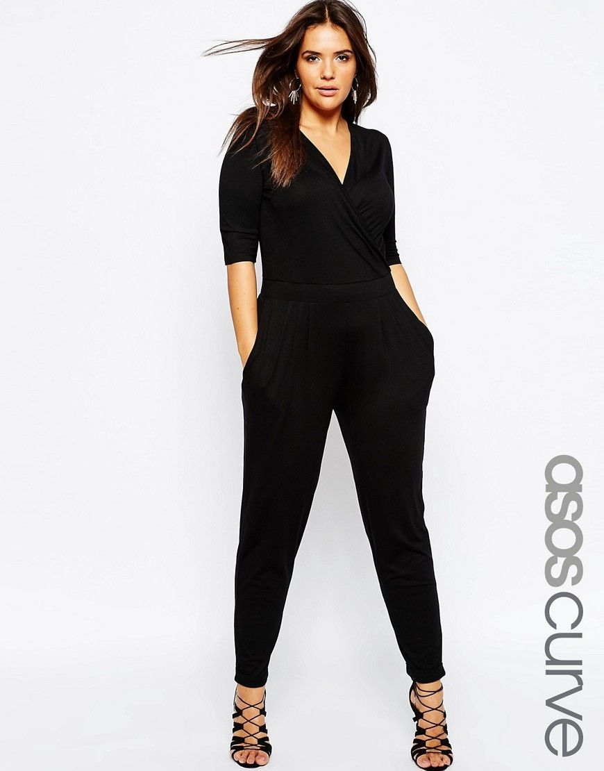 782b7cbb22d5 DESIGN Curve wrap jumpsuit with 3 4 sleeve in 2019