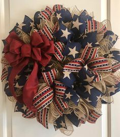 Primitive Patriotic Deco Mesh Wreath #decomeshwreaths