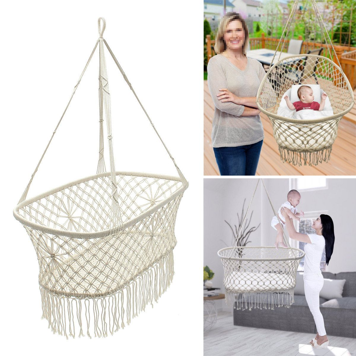 Baby garden hanging hammock cotton woven rope swing patio chair seat