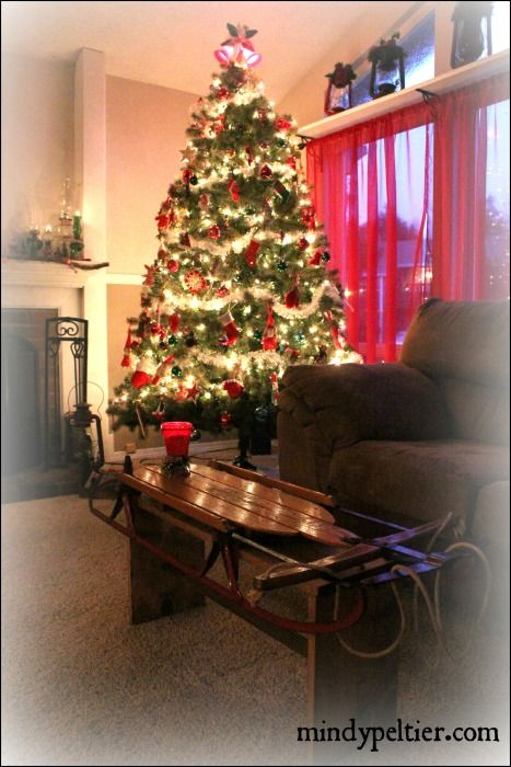 Vintage Sled Coffee Table And Tree