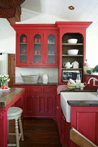 ʀɛd ƈơɬɬaɠɛ Red Kitchen Cabinets Red Kitchen Red Kitchen Decor