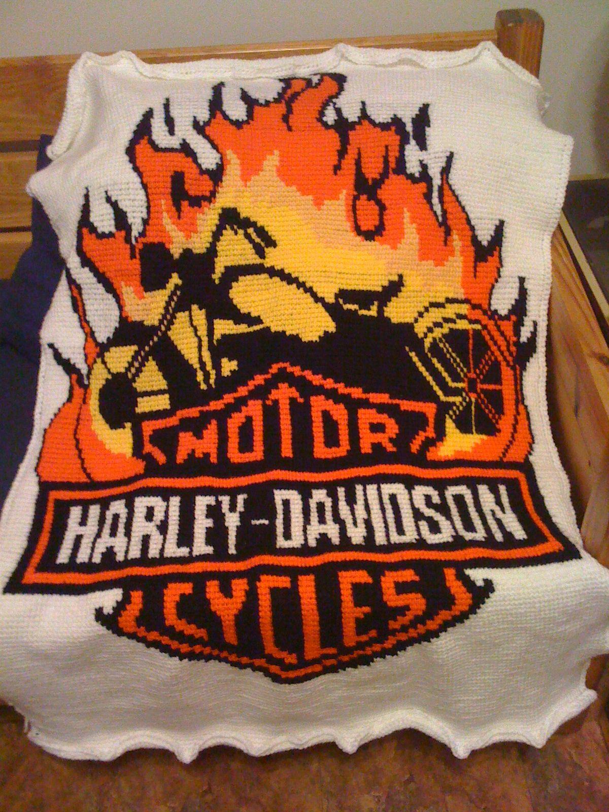 Harley Davidson Motorcycle Afghan Hand Made Creations