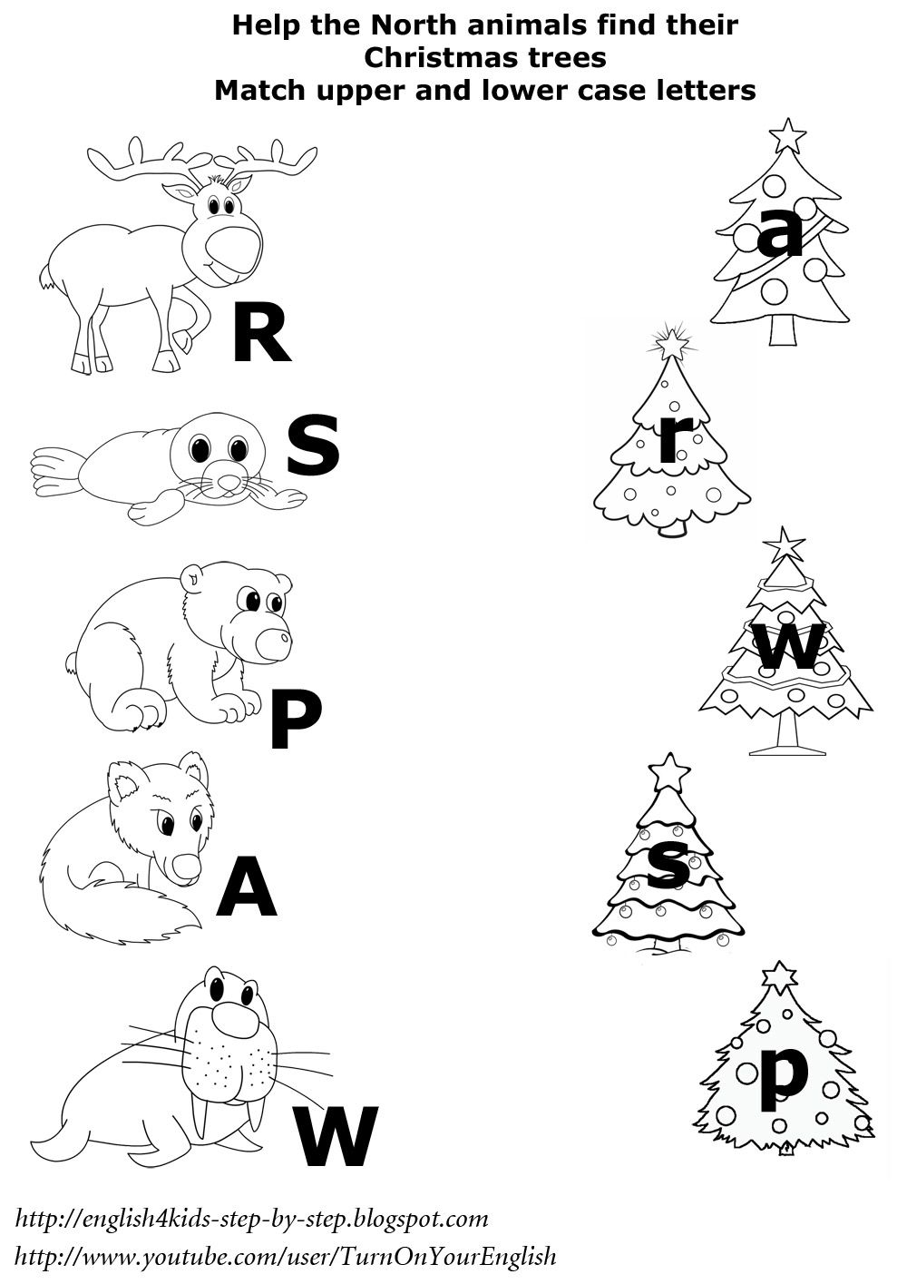 north animals christmas worksheetmatching upper and lower