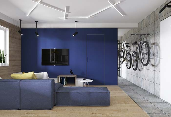 Cores Para Sala Azul Cinza E Tons Amadeirados Para Uma Decor