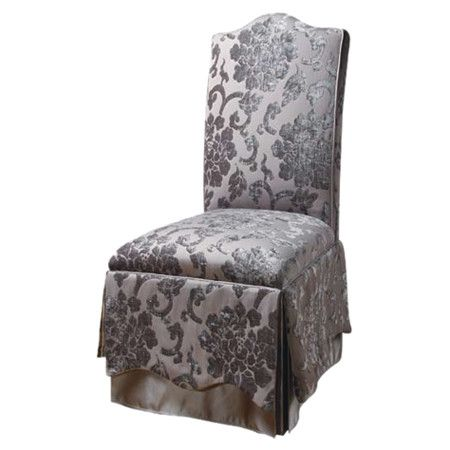 Skirted Parsons side chair with a gray floral motif.  Product: ChairConstruction Material: Polyester...