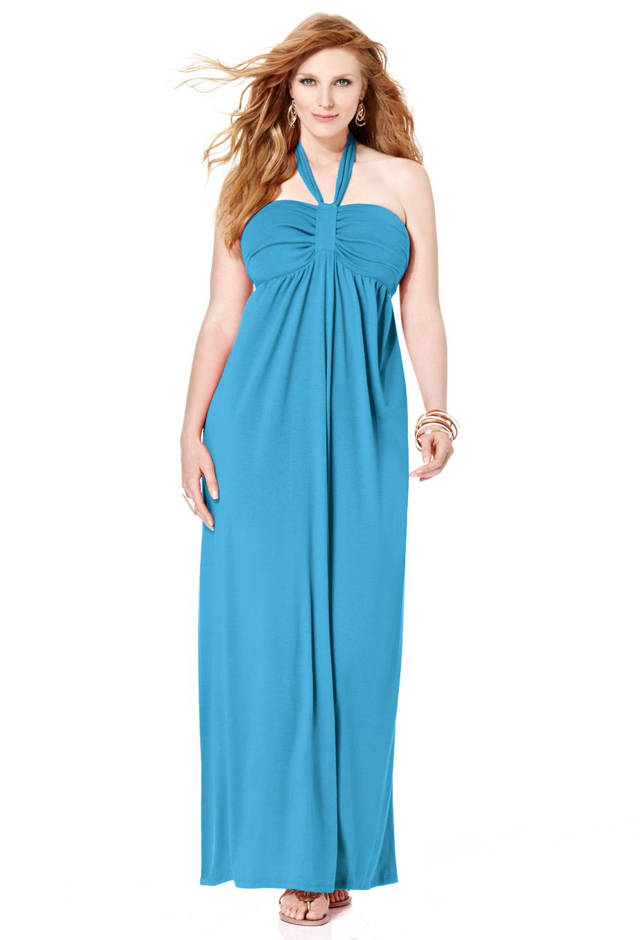 50d68493ad5f Plus Size Turquoise Halter Maxi Dress