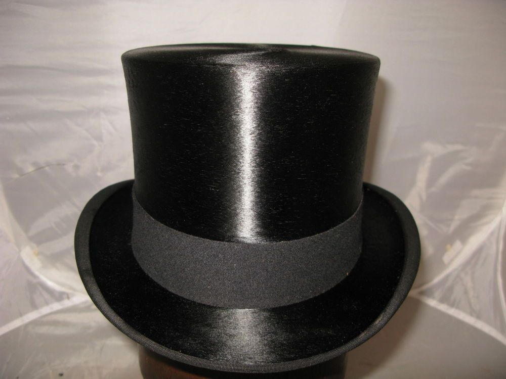 British Antique Vintage Black Silk Top Hat Size 7 1 4 Ascot Dunn Co 58.5cms   TopHat 52103be1bbf2