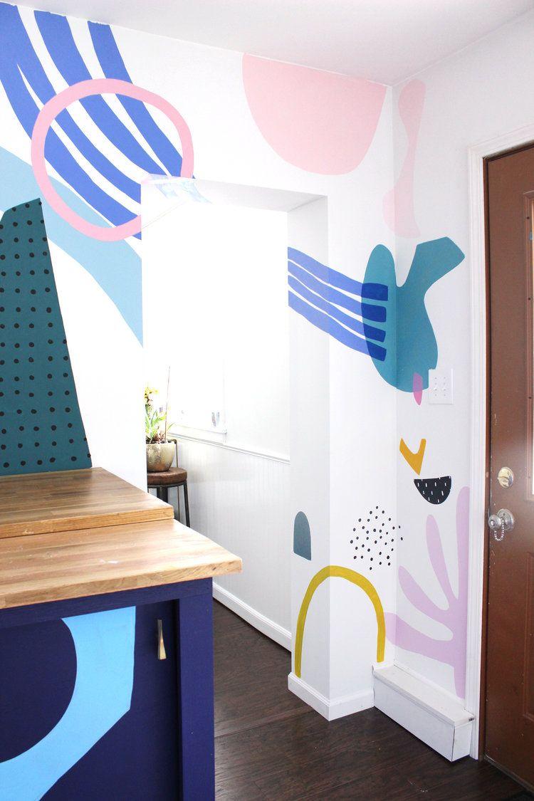 абстрактная роспись на стене