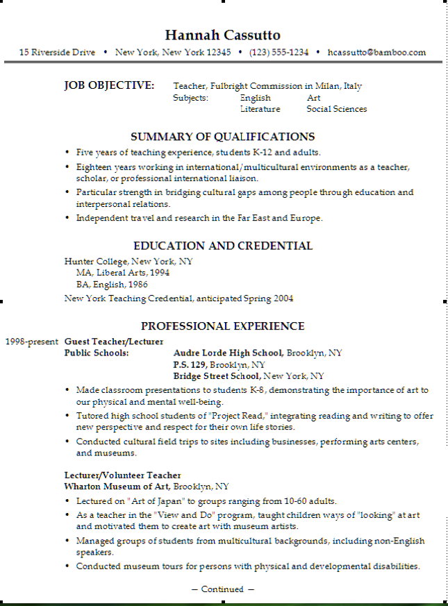 Example Of Teacher Fulbright Resume  HttpExampleresumecvOrg