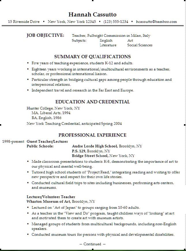 Example Of Teacher Fulbright Resume Examples Resume Cv
