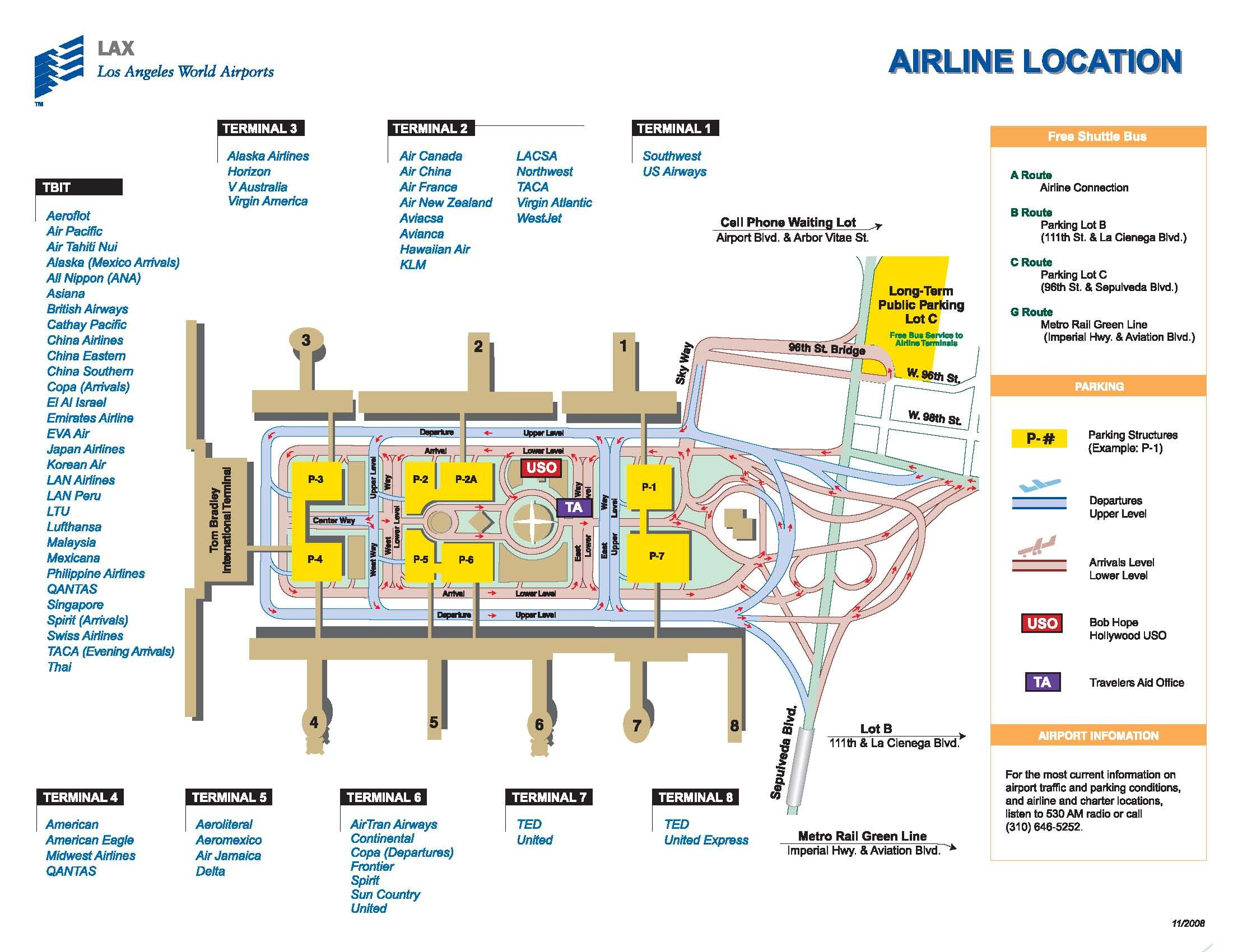 Terminal Map Of Lax Airport Airport Map Airport Guide Los Angeles International Airport