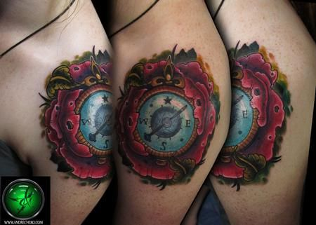 Placement--Andre Cheko - Poppy flower compass shoulder cap tattoo