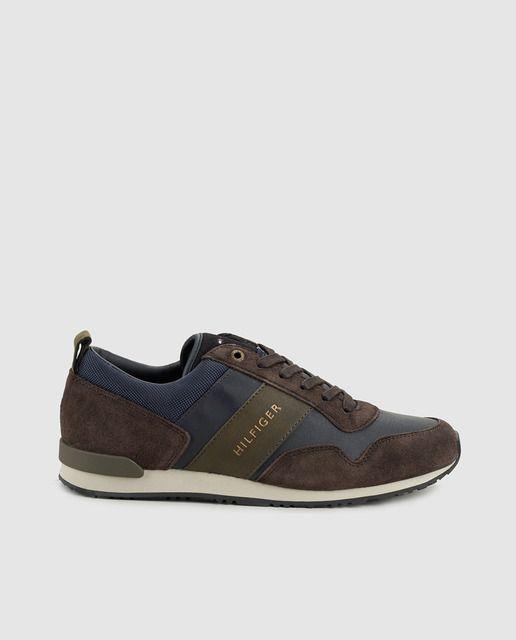 0e604f98f01 Zapatillas de piel de hombre Tommy Hilfiger azules marino ...