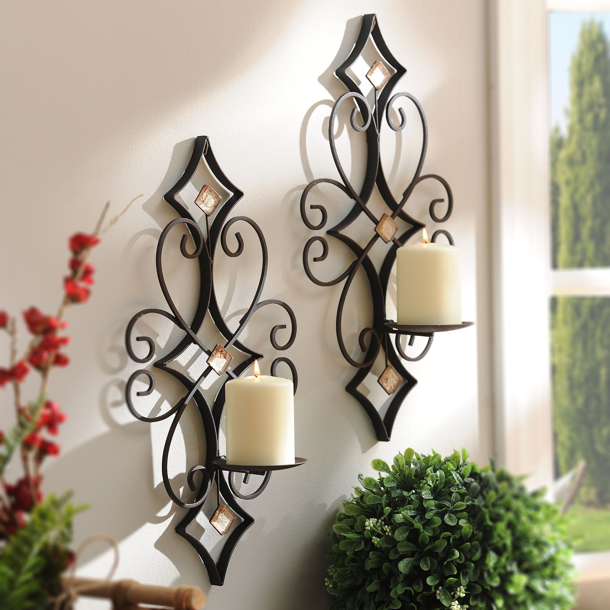Laney Bling Sconces, Set of 2 | Farmhouse wall sconces ... on Non Electric Wall Sconces For Candles id=63433
