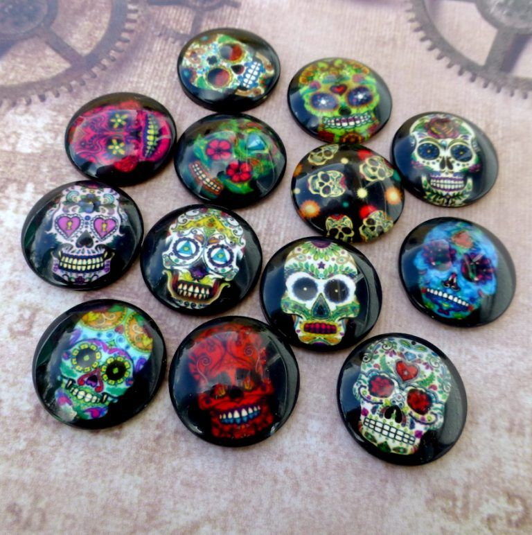 10 Skull 12mm Printed Half Round Domed Glass Cabochons CAB1F1