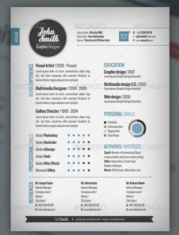Stylish Resume Templates | CV X ŻYCIORYSY X PAPIERY | Pinterest ...