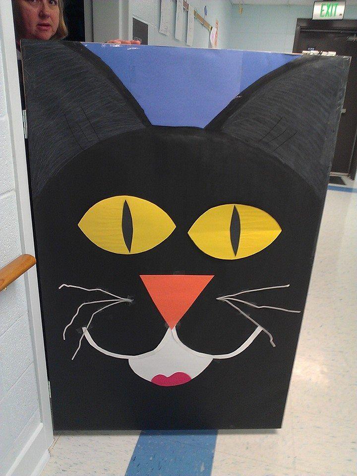 Black Cat Door At The Bclc Halloween Halloween Door Cat Door Daycare Bulletin Boards