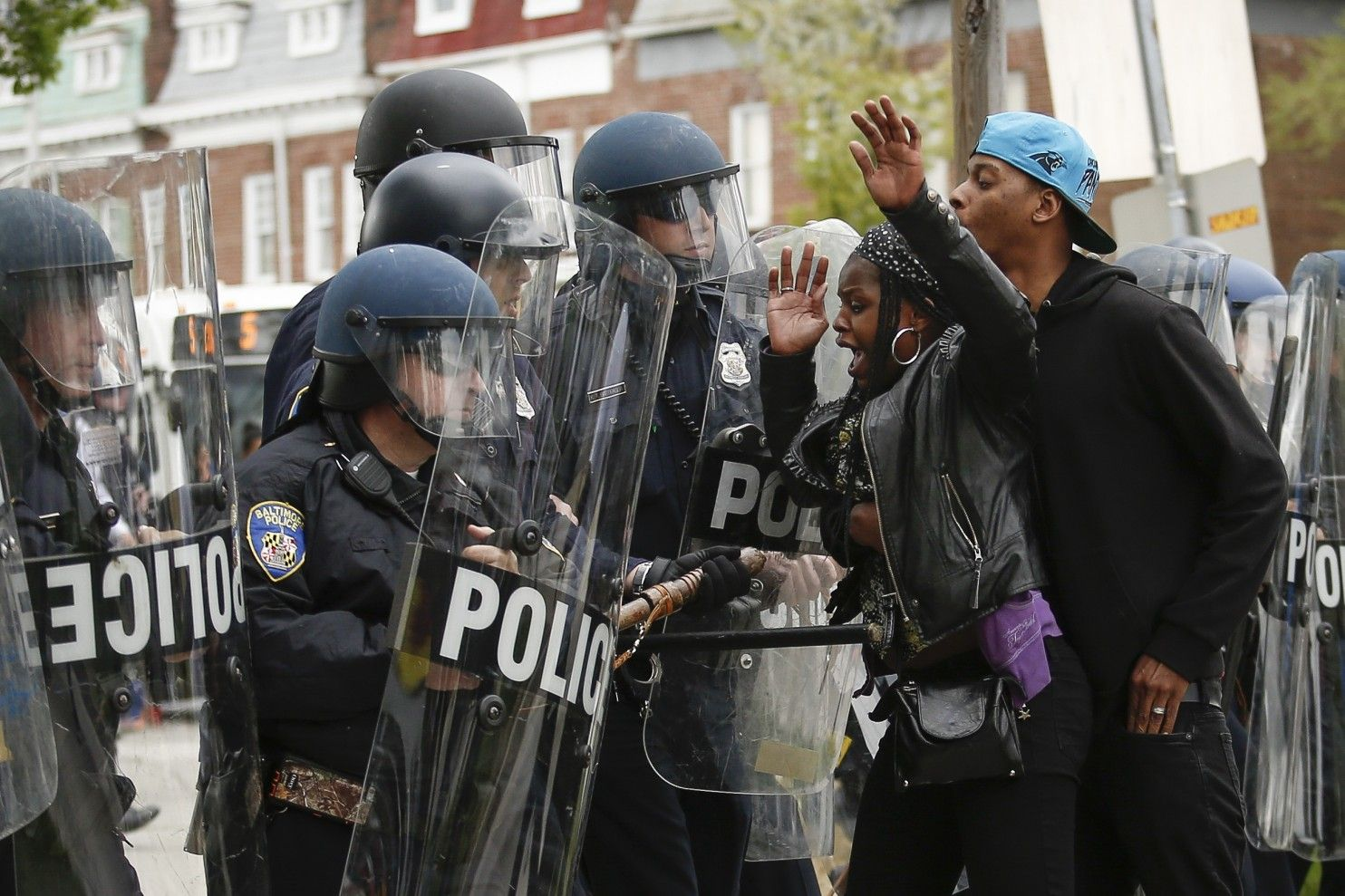 Baltimore police officers in riot gear push protestors back along - I Was A Civil Rights Activist In The 1960s But It S Hard For Me To Get Behind Black Lives Matter