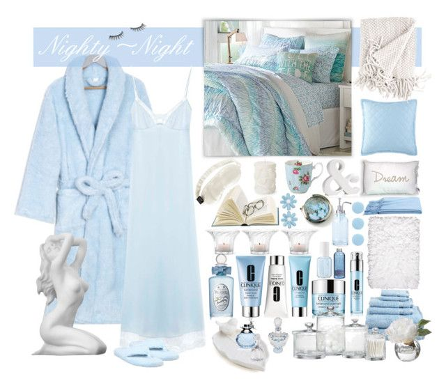 """""""~Beauty Sleep~"""" by justwanderingon ❤ liked on Polyvore featuring Slip, Royal Albert, Clinique, Berkshire Blanket, Acorn, Superior, Diane James, Crate and Barrel, Rosendahl and a&R"""