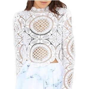 I just discovered this while shopping on Poshmark: Shein Long Sleeve White Hollow Lace Blouse. Check it out!  Size: M