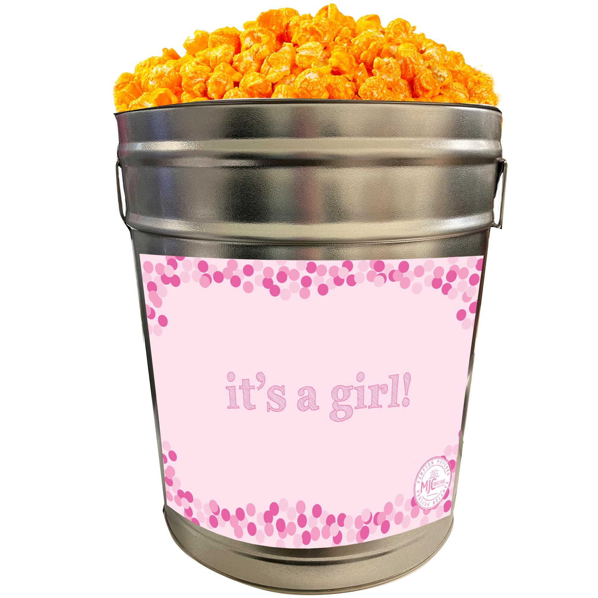 Photo of Orange Cheddar Cheese Popcorn: It's A Girl – 6.5 Gallon