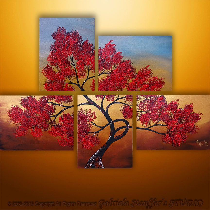 Abstract Modern Landscape Tree Asian Painting Art By Gabriela Etsy Tree Art Art Art Painting