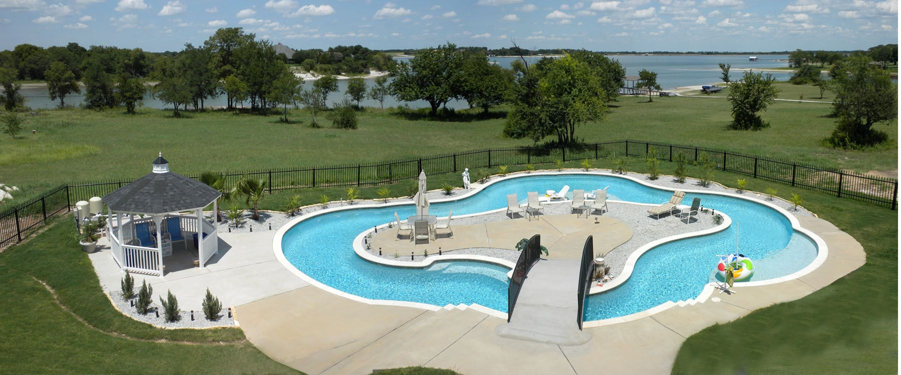 Residential lazy river pool light commercial luxury for Residential swimming pool designs