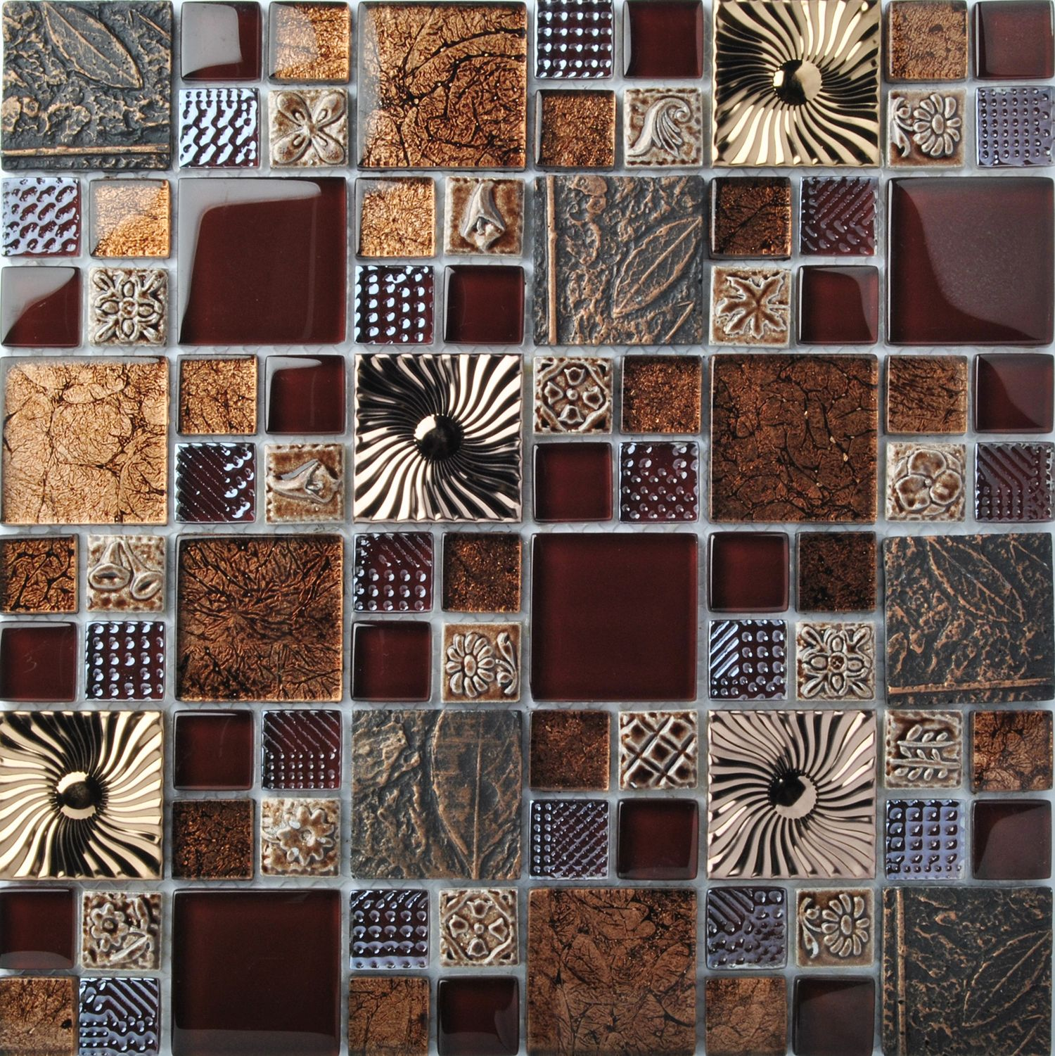 - Special Carving Mosaic Art Accent Tile Red Brown Color Glass Wall