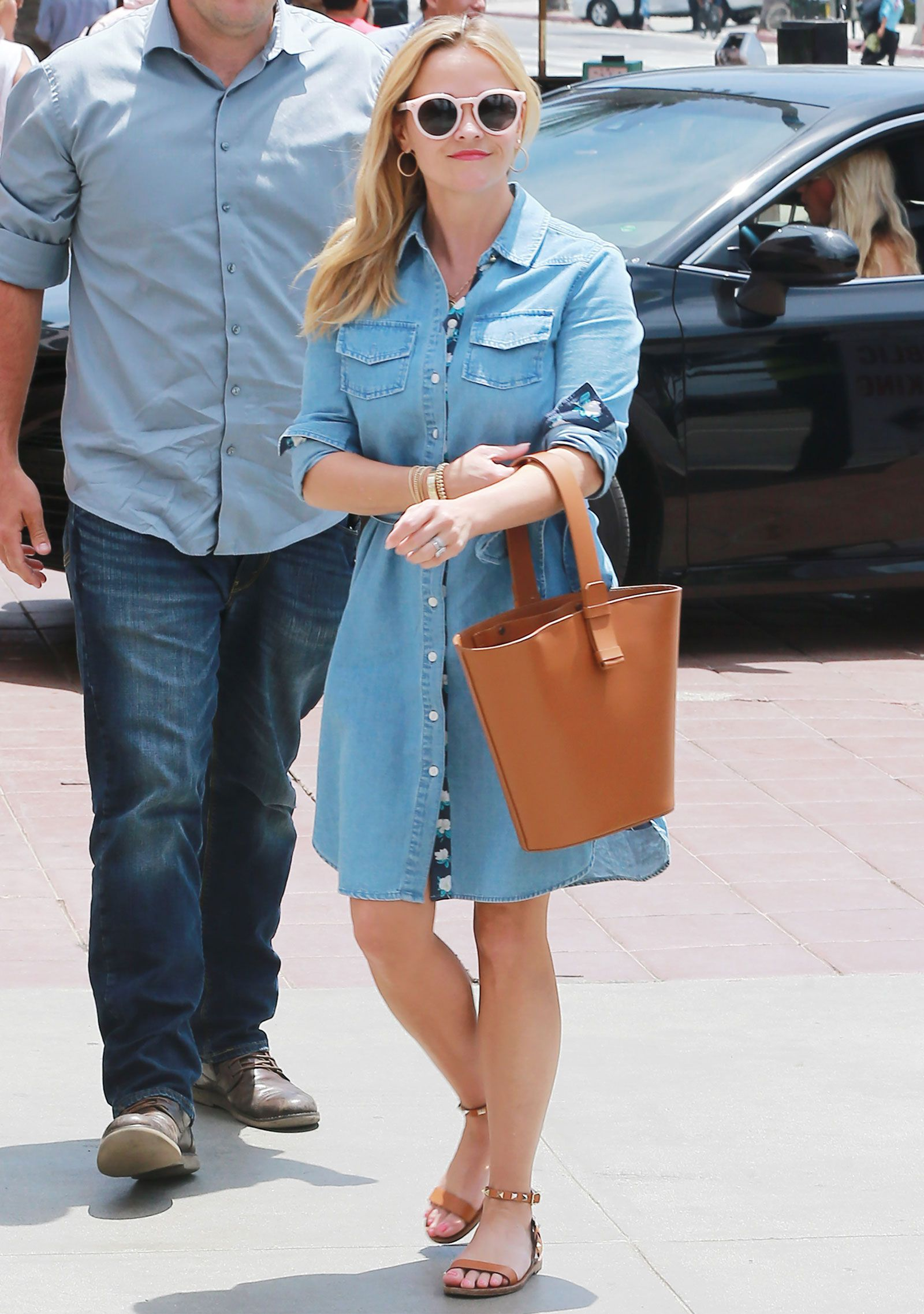 Get The Draper James By Reese Witherspoon Denim Shirtdress Look For Less Reese Witherspoon Style Denim Dress Summer Outfit Denim Shirt Dress [ 2274 x 1600 Pixel ]