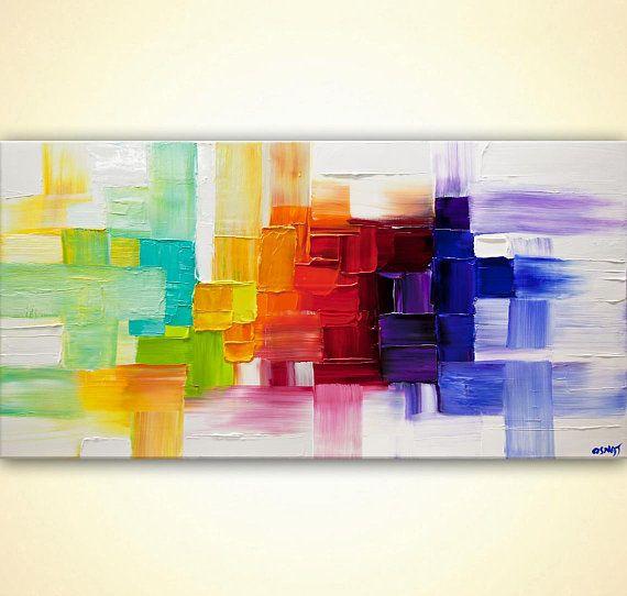 Colorful abstract art on canvas modern Palette knife Painting - peinture epaisse pour mur