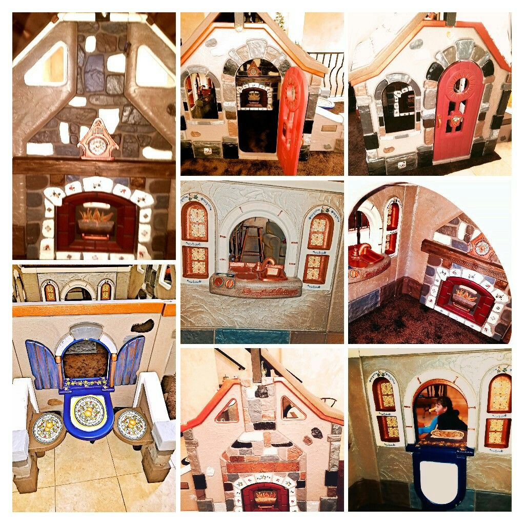 Step 2 Storybook Cottage Plastic Playhouse Redo The Deruta Manor Decoupage And Paint Transform This Plastic Play Play Houses Storybook Cottage Kids Playhouse