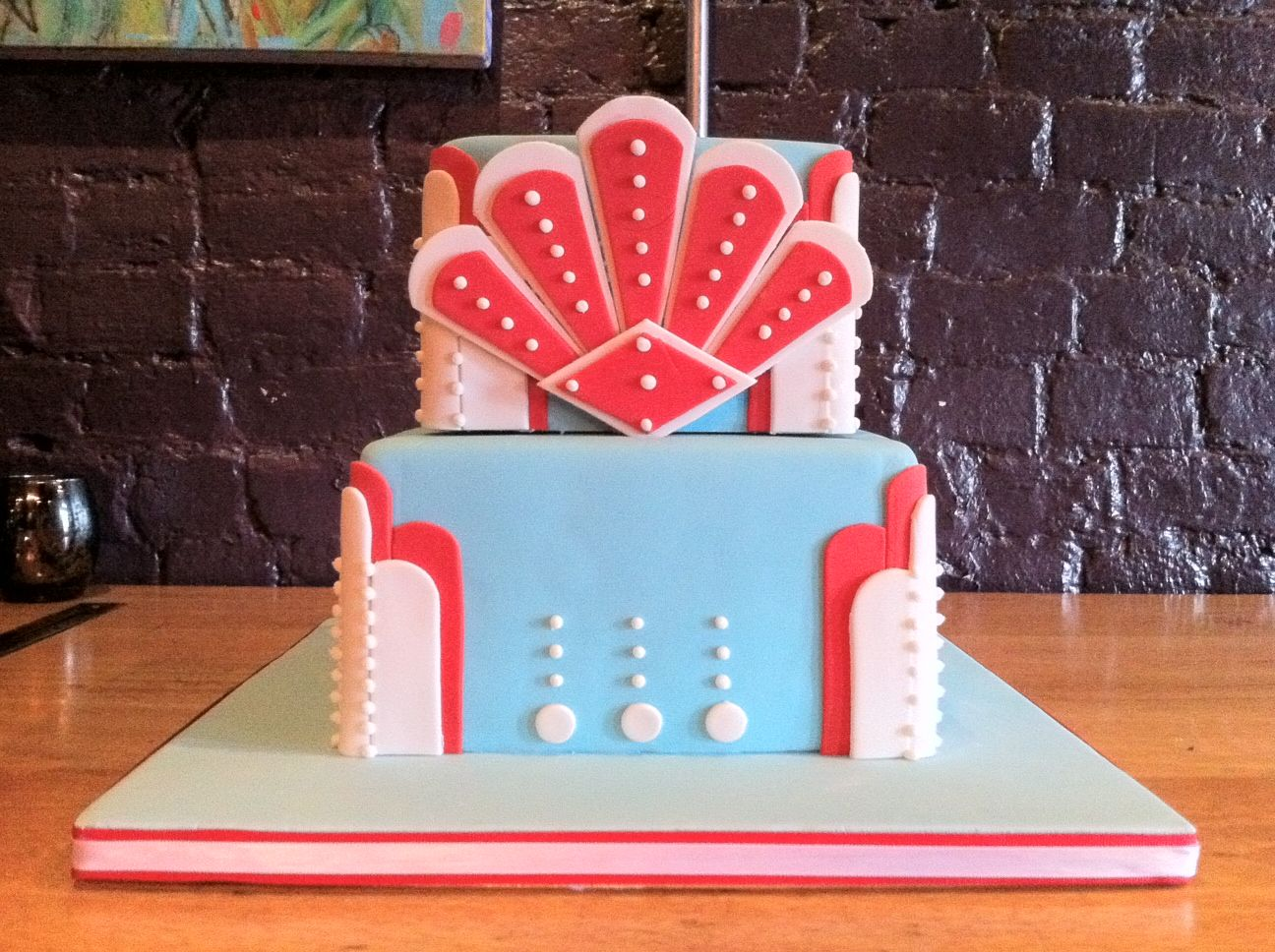Art Deco Wedding Cake By Renay Zamora @ Sweetface Cakes, Nashville, TN.  Delivered