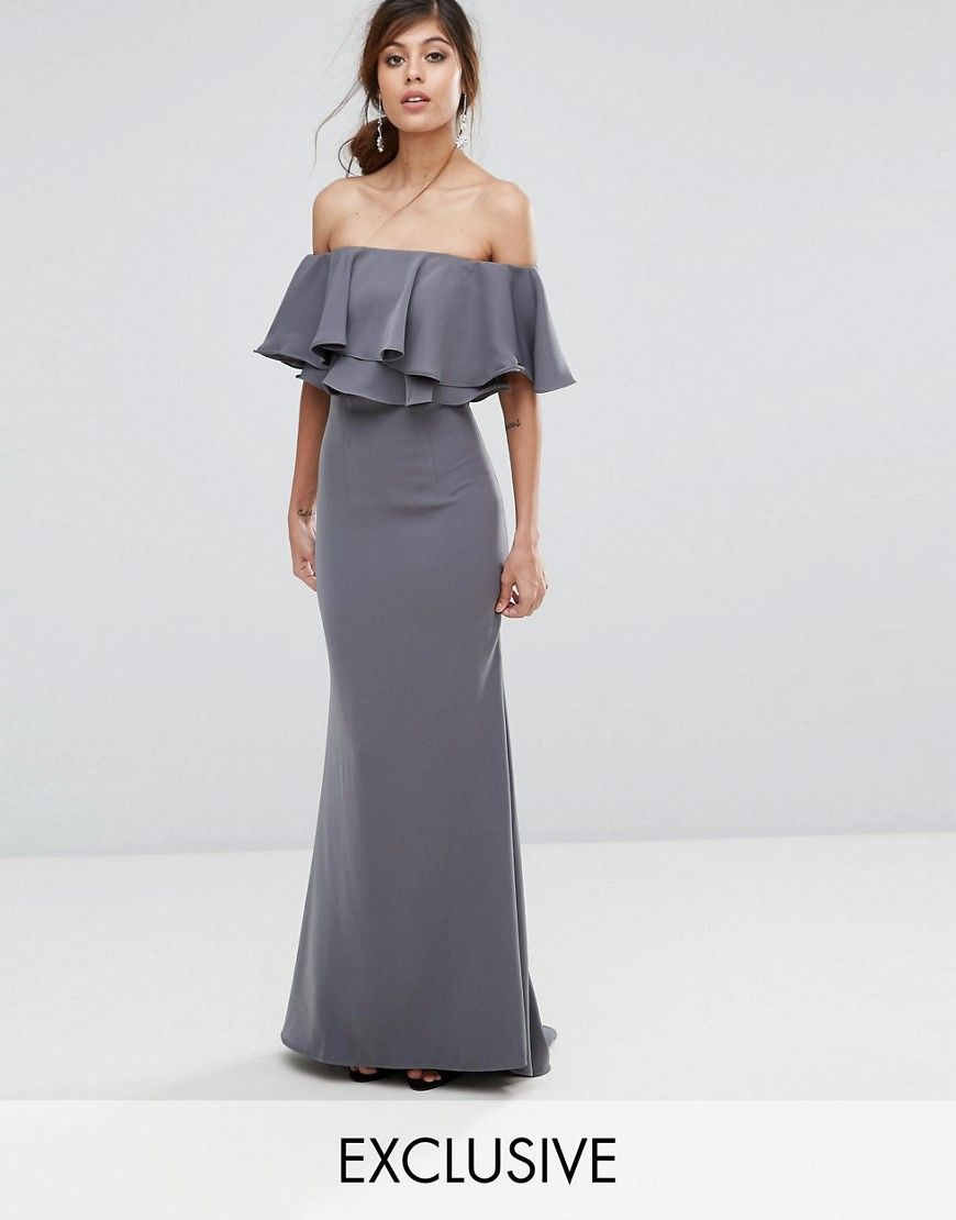 48a8a51ac54 Jarlo Off Shoulder Maxi Dress With Frill Top - Gray