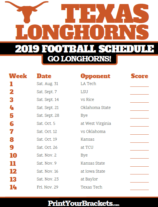 longhorns 2020 football schedule