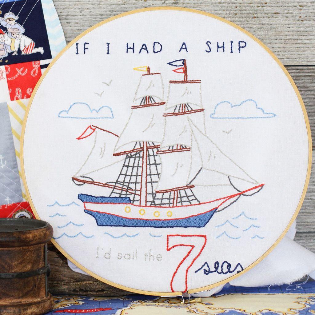 If i had a id sail the 7 seas nautical embroidery pattern nautical embroidery pattern bankloansurffo Gallery